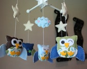 """Baby Crib Mobile - Baby Mobile - Owl Mobile - Nursery Baby Mobile """"Five little owls Matching your Room""""(you can pick your colors)"""