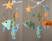 "Baby Mobile - Baby Crib Mobile - Ocean Sea Mobile - Nursery Crib Mobile - crab, octopus ""Ocean Sea Creatures"" (You Can Pick Your Colors)"
