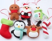 Set Felt Plush Christmas Ornaments - Santa Claus, Snowman, Gingerbread Man, Candy Cane and more - Merry Christmas Decor - Set of 7