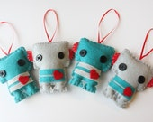 "Four Mini Felt Plush Toy - Robots Ornaments - Birthday Party or Baby Shower Favor - Quantity and Colors of your Choice ""Baby Rocko Robots"""