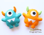 Two Monsters Plush Felt Toy, Nursery Decoration / Party Favors, Little Baby Monsters, Outerspace Decor (You can pick your colors)