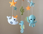 "Baby Mobile - Baby Crib Mobile - Ocean Sea Mobile - Nursery Crib Mobile - crab, octopus ""Ocean Sea Creatures"" (You Can Pick Your Colors)"