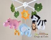 RESERVED Baby Crib Mobile, Baby Mobile, Nursery Jungle Crib Mobile Mobile, Crib Mobile, Elephant, Lion, Giraffe, Zebra, Hippo - aneaston