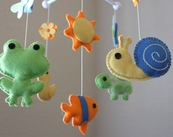 """Baby Crib Mobile - Baby Mobile - Pond Nursery Crib Mobile - Duck, Frog, Turtle """"A day at the Pond""""(You can pick your colors)"""