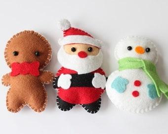 Felt Plush Ornaments Santa Claus, Snowman & Gingerbread Man - Merry Christmas Decor - Set of 3 / Includes Ribbon for Free