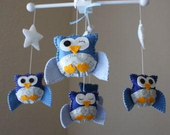 """Baby Crib Mobile - Baby Mobile - Owl Mobile - Nursery Crib Mobile - Boy Mobile """"Blues Baby Owls"""""""
