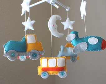 """Baby crib Mobile - Baby Mobile - Decorative Nursery Mobile - """"Driving to Dreamland"""" Design (You can pick your colors)"""