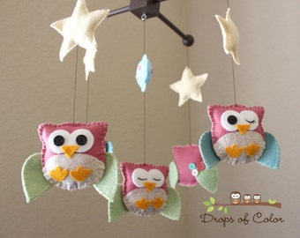 """Baby Crib Mobile - Baby Mobile - Owl Mobile - Nursery Forest Decor """"Five Owls in the night"""" (You can pick your colors)"""