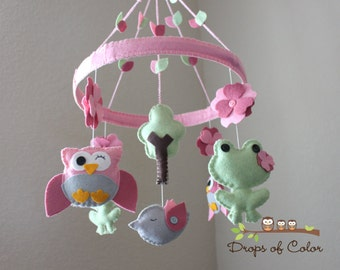 """Baby Crib Mobile - Baby Mobile - Owl Mobile - Frog Mobile - Nursery Mobile """"Frogs and Owls in the Circle of Love""""(You can pick your colors)"""