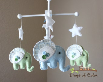 """Baby Mobile - Baby Crib Mobile - Elephant Mobile - Nursery Baby Room """"Rock-a-Bye-Baby-Elephant"""" (You can pick your colors)"""
