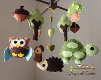 "Baby Crib Mobile - Baby Mobile - Nursery Wood Forest Crib Mobile - ""Forest Little Creatures"" (You can pick your colors) Mobile - Crib Mobile"