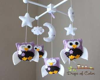 "Baby Crib Mobile - Baby Mobile - Owl Mobile - Nursery Baby Mobile ""Five little owls loves Purple Cherry Blossoms"" (You can pick your colors)"