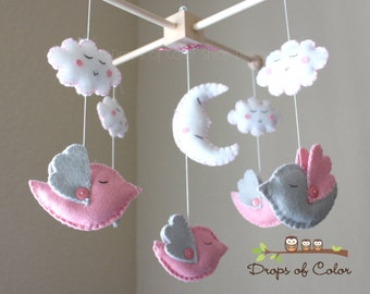 "Baby Crib Mobile - Baby Mobile - Bird Mobile - Girl Nursery Mobile ""Five little birds sleeping at night"" (You can pick your colors)"