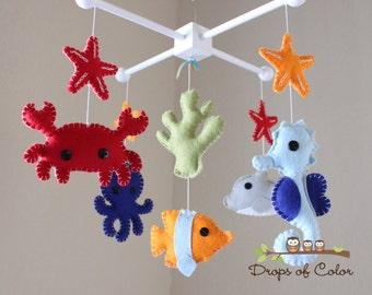 """Baby Crib Mobile - Baby Mobile - Nursery Crib Mobile - Ocean Mobile """"Under the Sea Creatures"""" (You can Pick your colors)"""