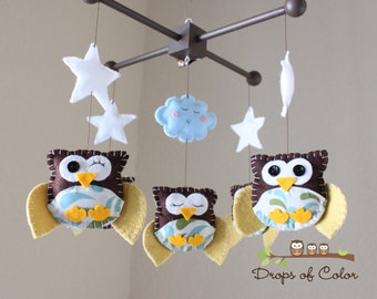 "Baby Crib Mobile - Baby Mobile - Owl Mobile - Nursery Decoration Mobile - Mobile ""Five little owls in the night"" (You can pick your colors)"