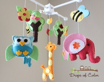 Baby Crib Mobile - Baby Mobile - Nursery Owl Mobile - Nursery Animals Mobile Elephant, Bees, Giraffe, Forest (You can pick your colors)
