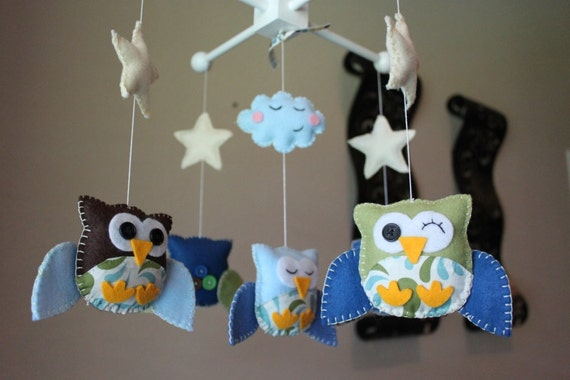 "Baby Crib Mobile - Baby Mobile - Owl Mobile - Nursery Baby Mobile ""Five little owls Matching your Room""(you can pick your colors)"