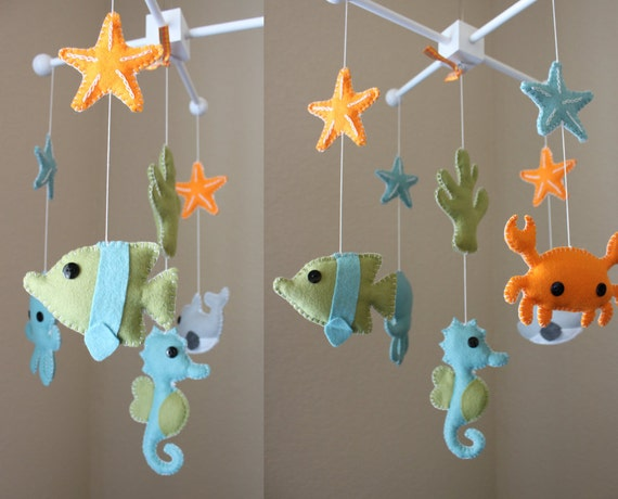 Baby mobile baby crib mobile ocean sea by dropsofcolorshop for Sea animal baby mobile