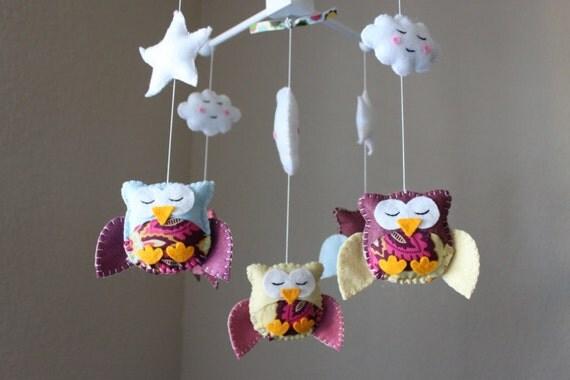 Baby crib mobile baby mobile nursery owl mobile handmade - Decoracion con buhos ...