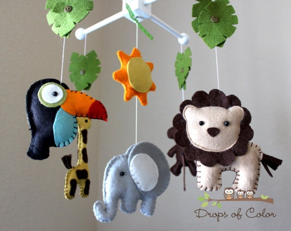 "Baby Crib Mobile - Baby Mobile - Nursery Jungle Crib Mobile ""Safari Playland"" - Jungle Tropical Mobile - Mobile"