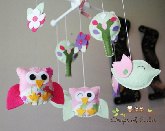 """Baby Crib Mobile - Baby Mobile - Owl Mobile """"A Day in the Forest""""(You can pick yours colors) Crib Mobile - Birds Owls Mobile"""