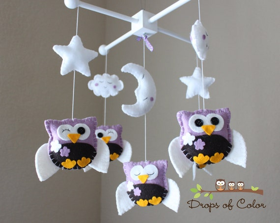 """Baby Crib Mobile - Baby Mobile - Owl Mobile - Nursery Baby Mobile """"Five little owls loves Purple Cherry Blossoms"""" (You can pick your colors)"""