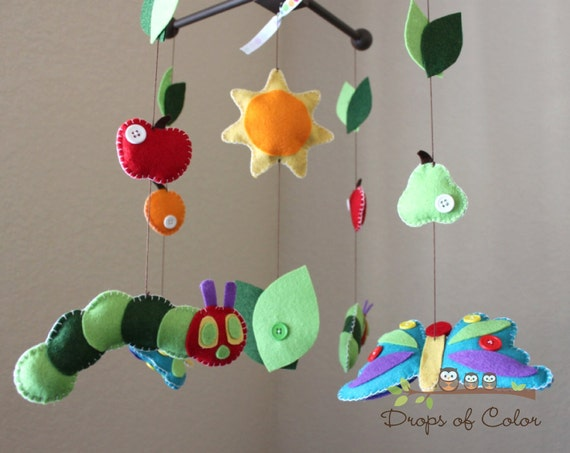 Baby Crib Mobile, Baby Mobile - Fruits, Caterpillar Butterfly Mobile, Inspired by the Very Hungry Caterpillar, Book Story Nursery Decor