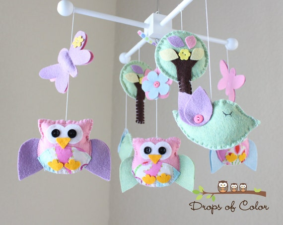 """Baby Crib Mobile - Baby Girl Mobile - Owl and Birds Mobile - Nursery Owl Mobile """"A day in the Forest"""" (You Can Pick Your Colors)"""