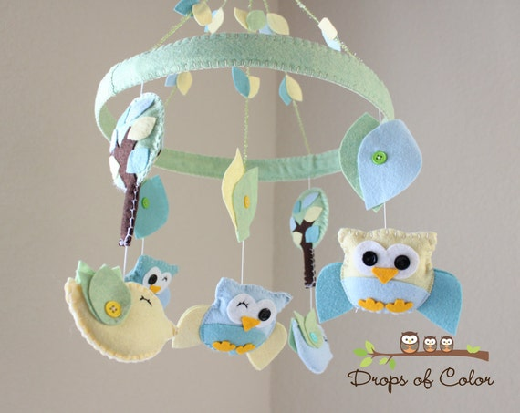 """Baby Crib Mobile - Baby Mobile - Owl and Bird Mobile - Nursery Neutral Circle Frame Mobile """"A Day in the Forest"""" (You Can Pick Your Colors)"""