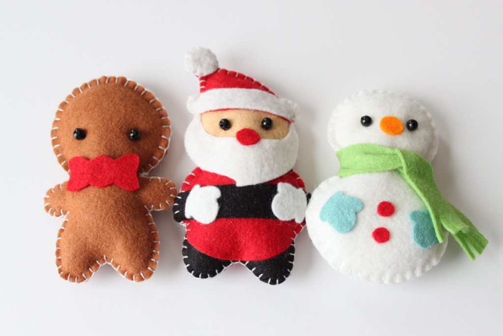 Felt Plush Ornaments Santa Claus Snowman & by dropsofcolorshop