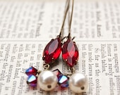 Old Hollywood Glamour Vintage Style Earrings / Antiqued Brass / Ruby Red Vintage Jewels / SRAJD / E135