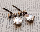 Antiqued Brass Vintage Style Rhinestone Earrings/ Old Hollywood Glamour /  Rhinestone and Bow Tear Drop / SRAJD / E102