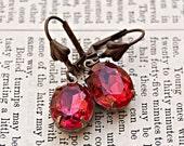 Antiqued Brass Vintage Style Earrings / Coral Rose Vintage Jewels / Estate Style / SRAJD / E142