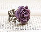 Vintage Style Resin Flower Ring / Dusky Lavender Rose / SRAJD / R103