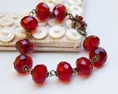 Vintage Style Antiqued Brass Bracelet  / Ruby Red Crystal / SRAJD / B139