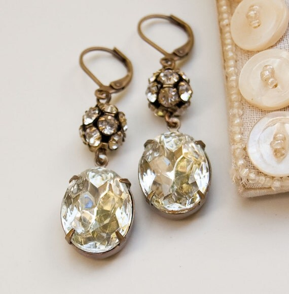 Old Hollywood Glamour Vintage Style Rhinestone Earrings