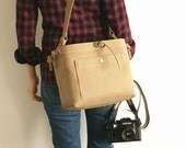 Medium Studio Camera Bag with Inner Flap - water-repellent durable canvas - Amber