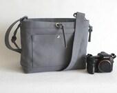 Large Studio Camera Bag - water-repellent durable canvas & 6 exterior colors - Grey