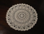 Crocheted Round Off-white Doily, 11 inches