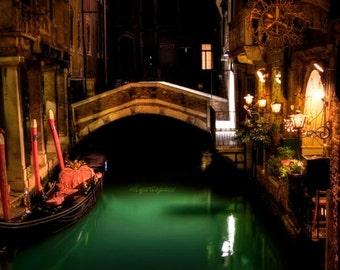 Venice photography, Canals of Venice, Emerald river, Venice bridge at night, greenery Venice print, Venice architecture, travel wall art