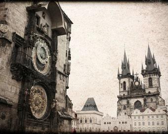 Prague Astronomical Clock Print, Prague Old Town Square, distressed Print, Prague Photo, Sun and Moon Clock,  8 x 12''