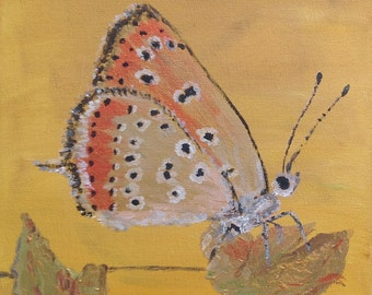 Original painting - Gold coral butterfly painting - honey yellow background - contemporary art - warm yellow home decor