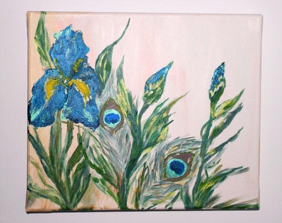 iris bleue peinture plume de paon peinture jardin fleuri. Black Bedroom Furniture Sets. Home Design Ideas