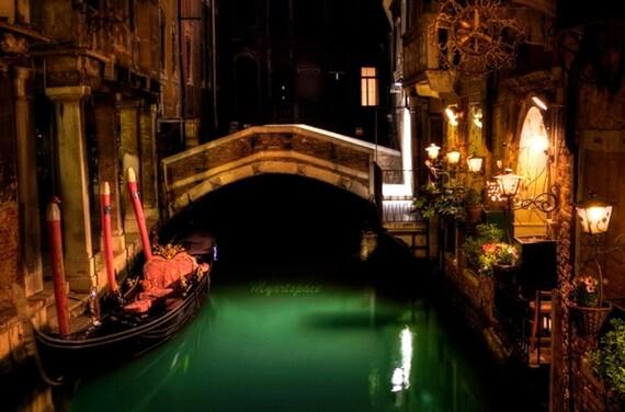 Venice travel night print Italian architecture bridges art  Fine Art Photography emerald green Venice at night Canals in Venice Italy travel