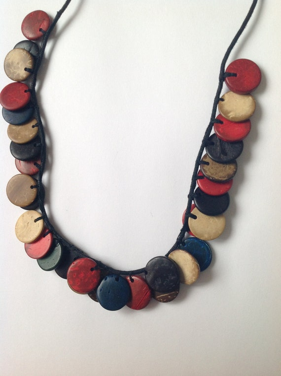 Wooden multicolored necklace, wooden flat beads, natural cream, black, coral red, navy blue, dark teal, Boho Chic Necklace