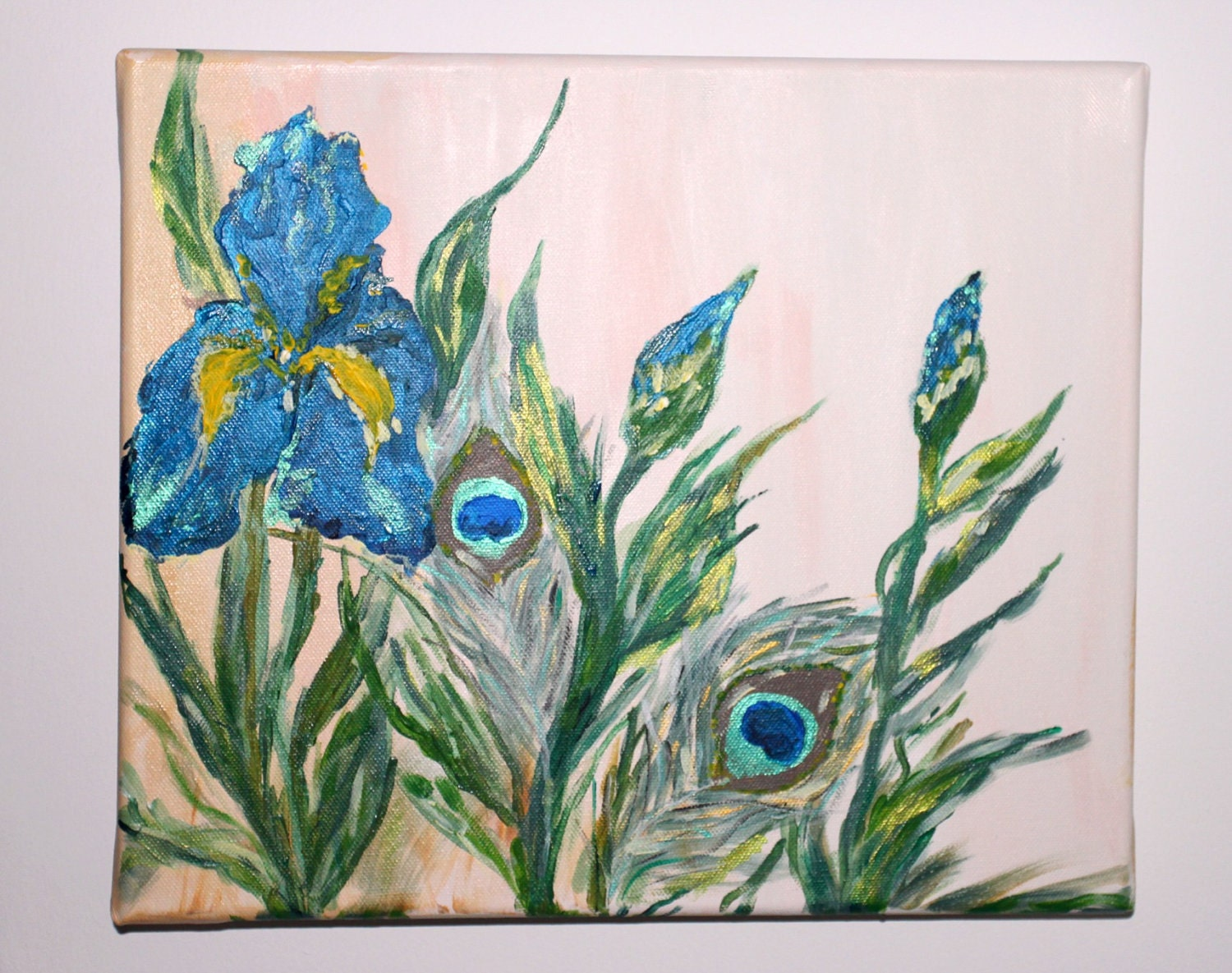 Blue Iris Painting Peacock Feather Painting Flower Garden