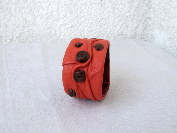 Unique Leather Cuff,Orange Red, wrinkled leatherforms,
