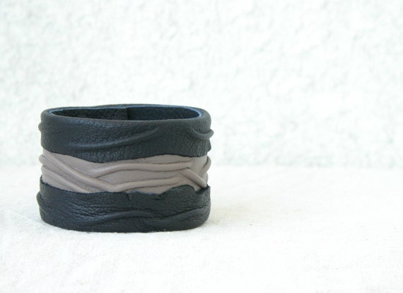 Unique Cuff Bracelet, Leather, grey and black, artistic, contemporary accessories