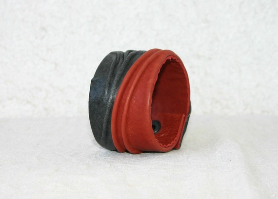 Unique Leather Cuff, brown red, wrinkled leather forms