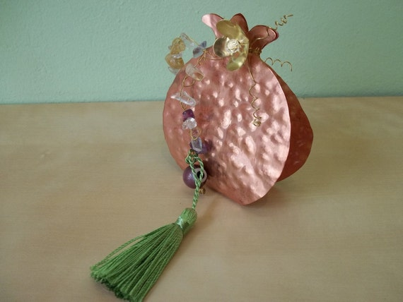 Handmade brass or copper  Pomegranate Luck charm .FREE SHIPPING.